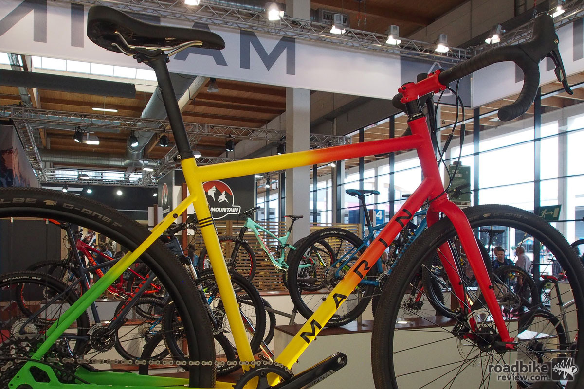The Rasta colored Marin Four Corners Elite gravel bike comes with a SRAM Rival 1x drivetrain with a 38t chainring up front, meaning it can climb just about anything. Price is $2200.