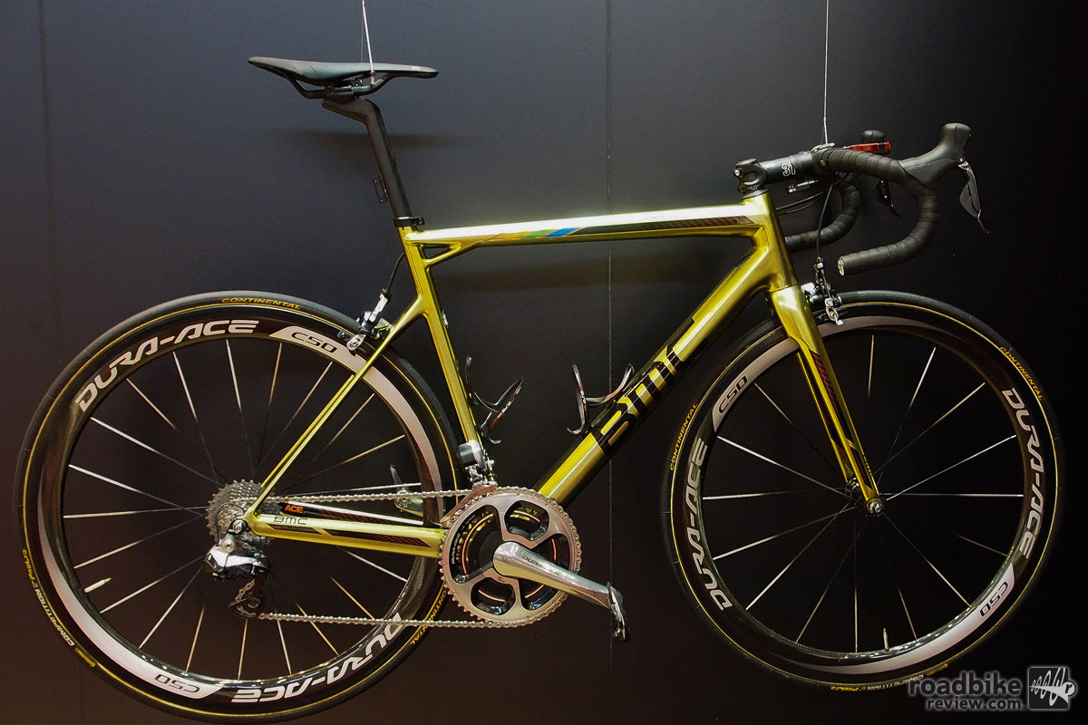 BMC presented this golden hued bike to recently crowned Olympic road race champion Greg Van Avermaet.
