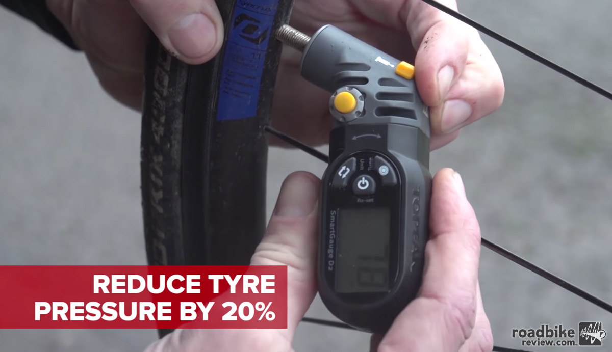 Reduce tire pressure for enhanced traction on wet roads.