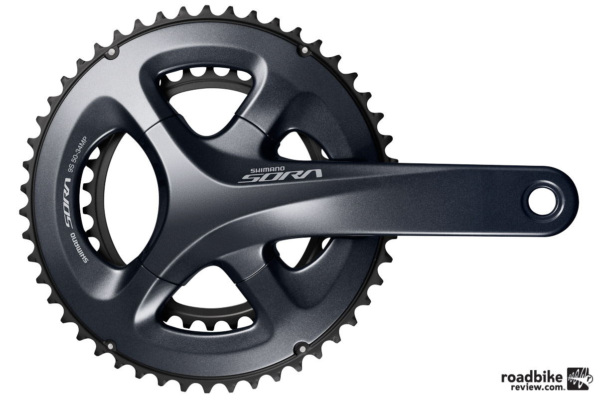 Options include lighter SORA R3000 4-arm double or triple cranksets that follow the premium aesthetic of Dura-Ace 9000.