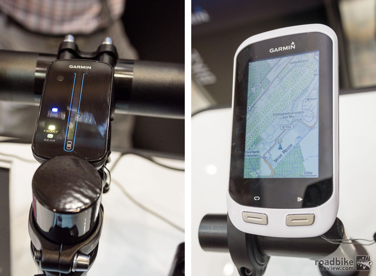 Garmin Varia Rearview Bike Radar (left) – Radar Display unit with LED interface. The new Edge Explore 1000 GPS unit (right) clearly shows Eurobike's location.