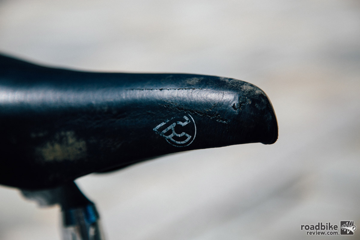 While you can't tell how hard the bike has been ridden from how clean the frame and components are, this saddle tells a different story.