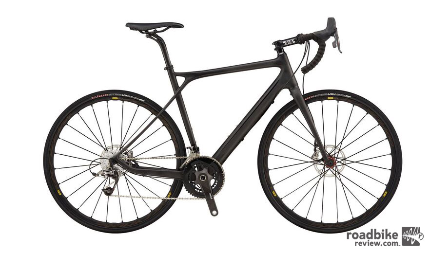 The top of the line Grade comes with a SRAM Red drivetrain, hydraulic disc brakes, carbon fork with carbon steerer and thru-axles front and rear.
