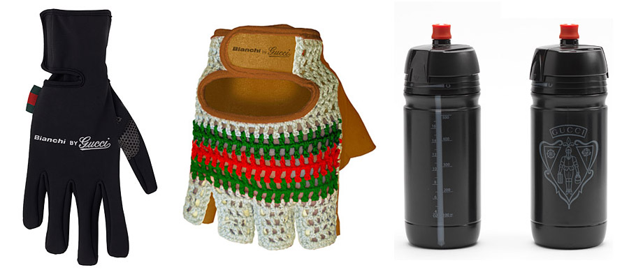 Gucci bicycle gloves and water bottles