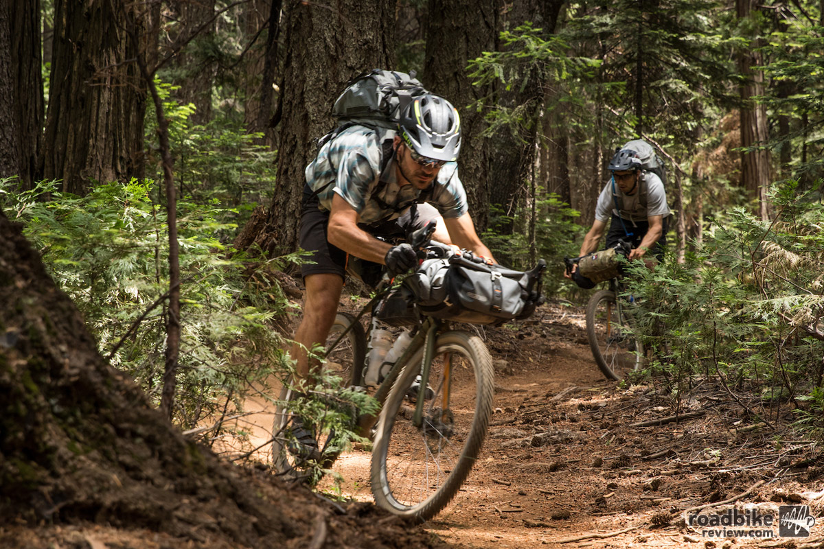 Even with 25 pounds of gear on the bike, the Haanjo EXP could still reasonably rip down Pioneer Trail near Nevada City. Photo by James Adamson – dropmedia.tv