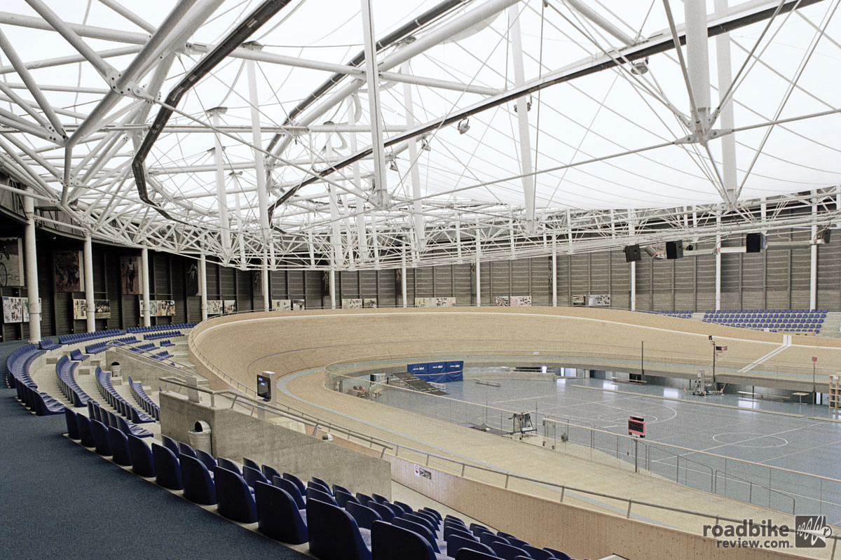 Inside the Aigle velodrome, sight of the record breaking effort.