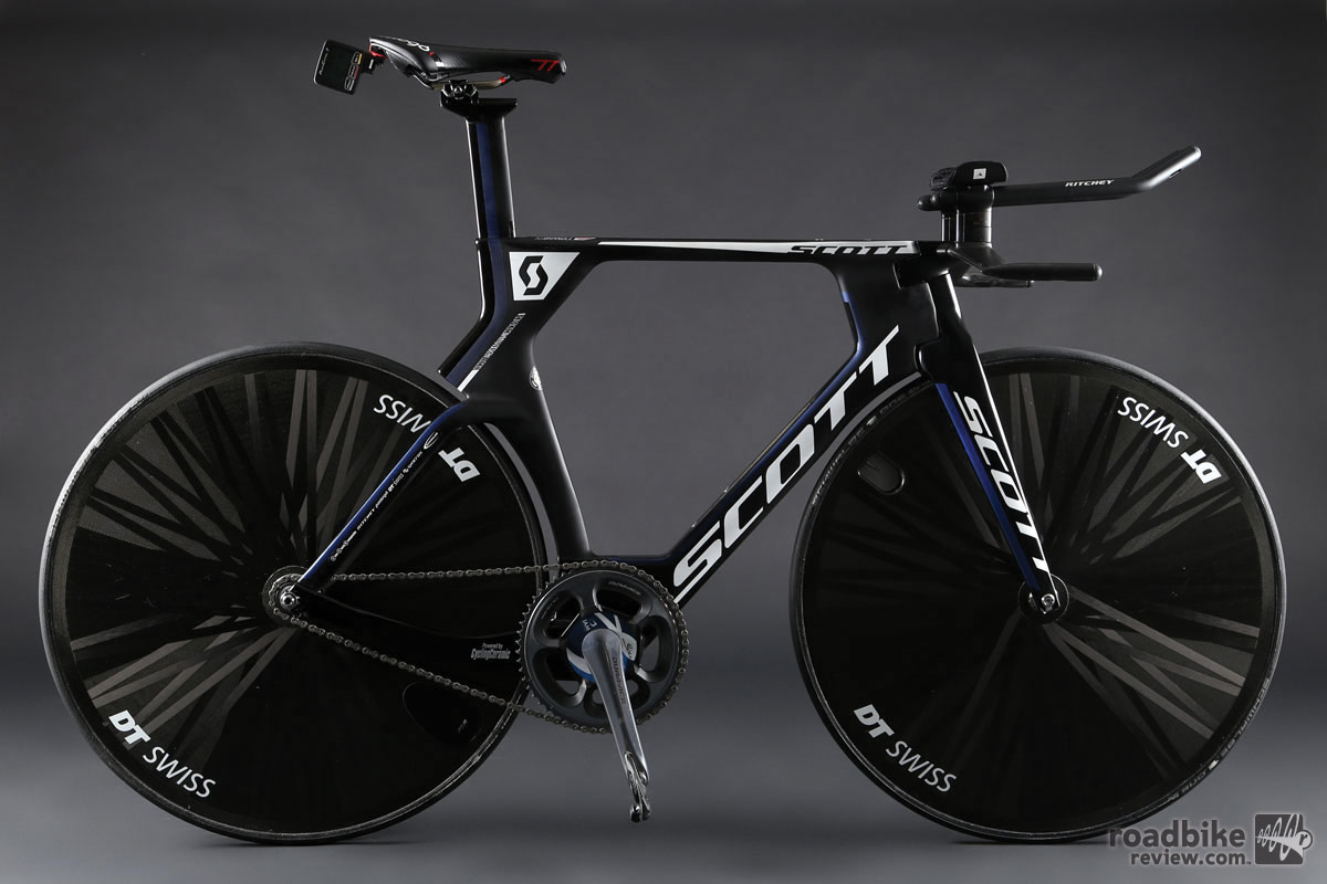 The bike that helped make it happen, a modified version of Scott's new Plasma 5 time trial machine.
