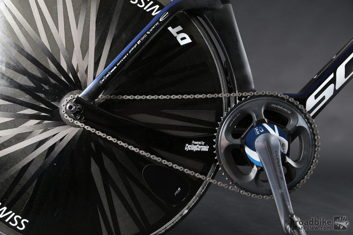 Gearing was a Shimano Dura-Ace 55-tooth chainring paired with a 13-tooth cog. Power was tracked by an SRM power meter.