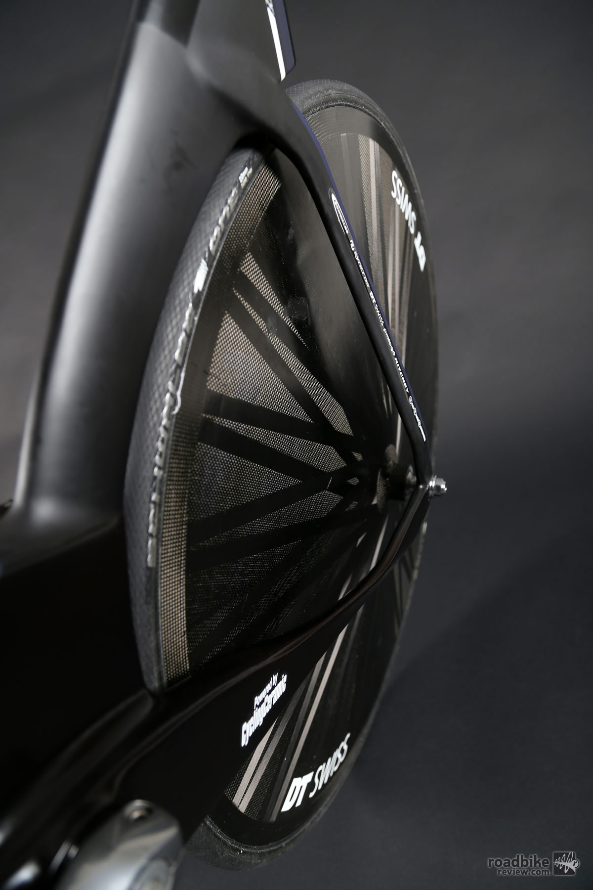 Disc wheels labeled as DT Swiss, but actually made by Lightweight.