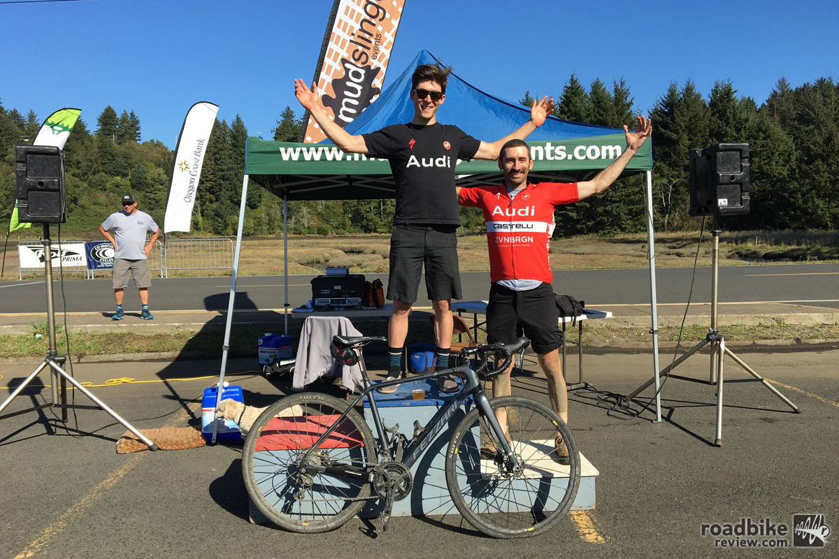 The Shafer wins the Oregon Coast Gravel Epic Men's Overall. Fortunately the front tire didn't go flat until about 15 minutes after coming across the line.