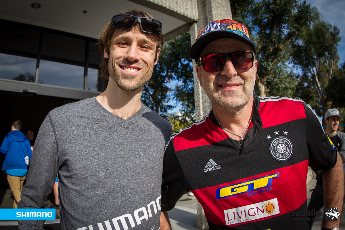 Ryan Leech and  Hans Rey - two mountain bike legends together.