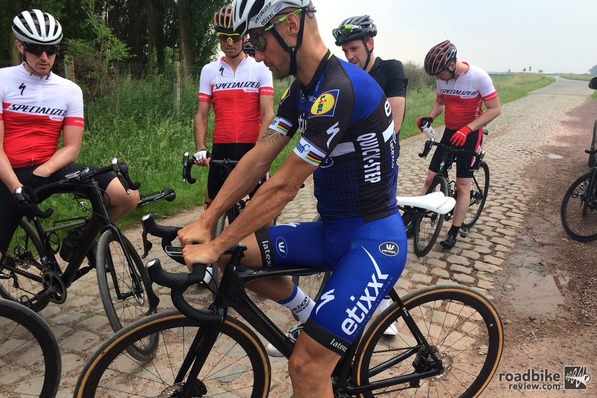 Tom Boonen of Etixx-QuickStep demonstrating the goods.