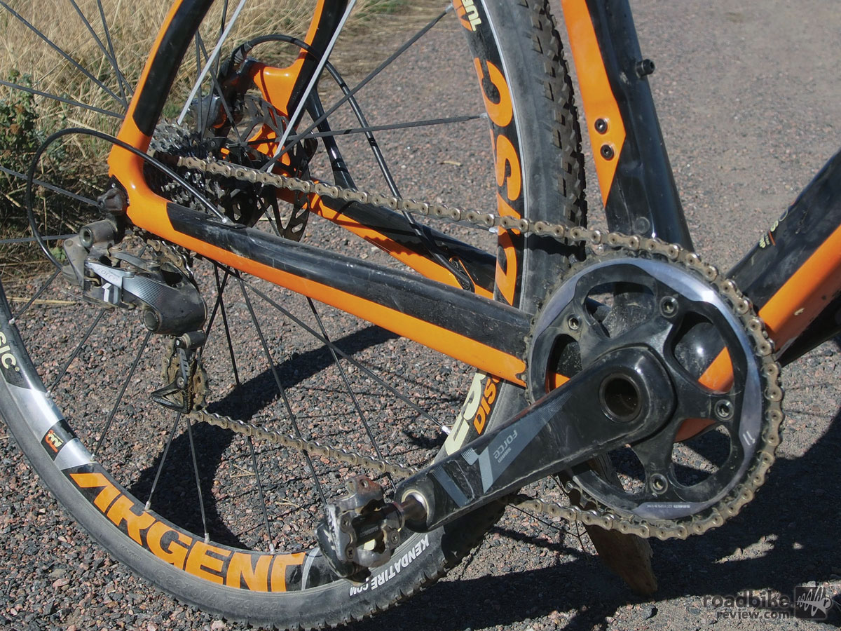 Propulsion is provided by SRAM's cyclocross-specific Force CX1 drivetrain.