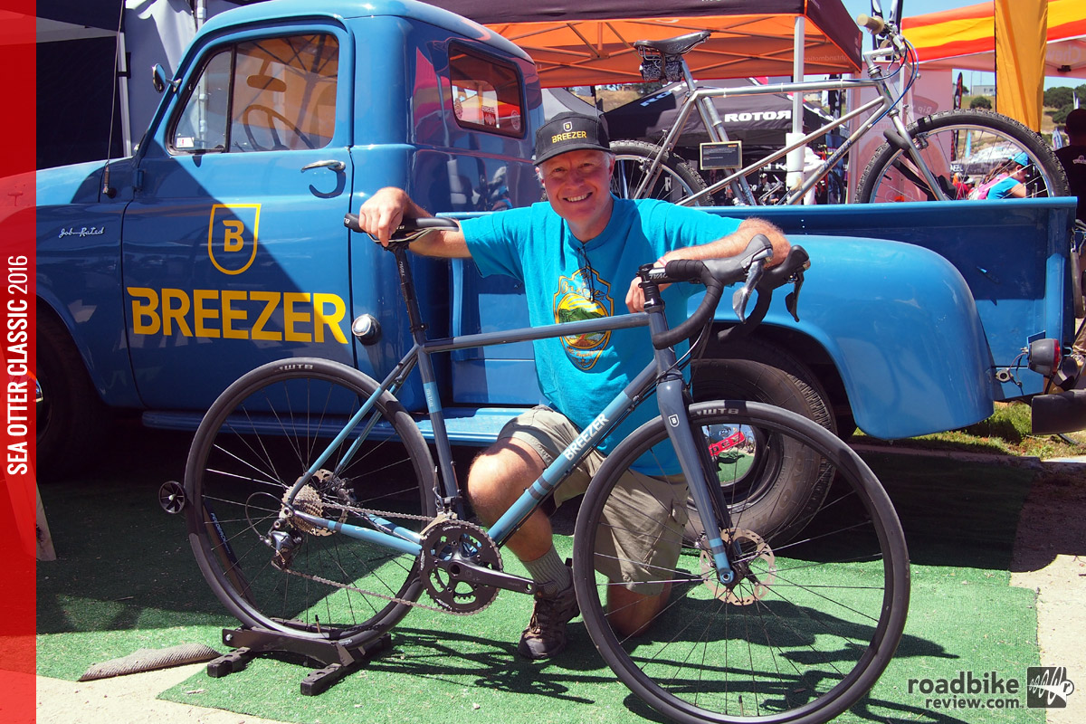 The man himself, Joe Breeze poses with his new gravel grinder called the Inversion.