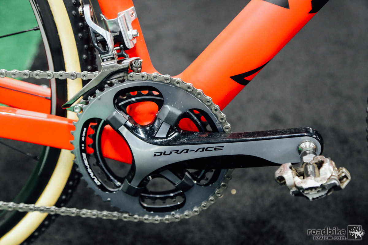 Page raced with a Di2 drivetrain last year, but has made the switch to a full mechanical drivetrain this year.