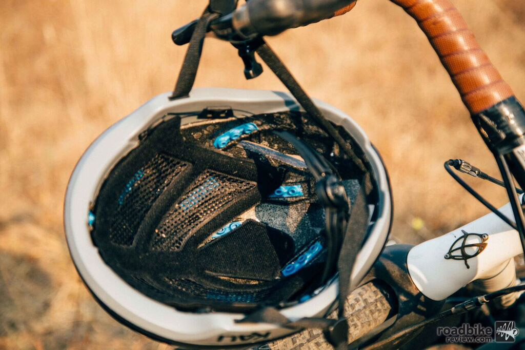 The blue material interspersed throughout the helmet liner has been shown in testing to reduce G forces in a 1.5 m drop by up to 12%.