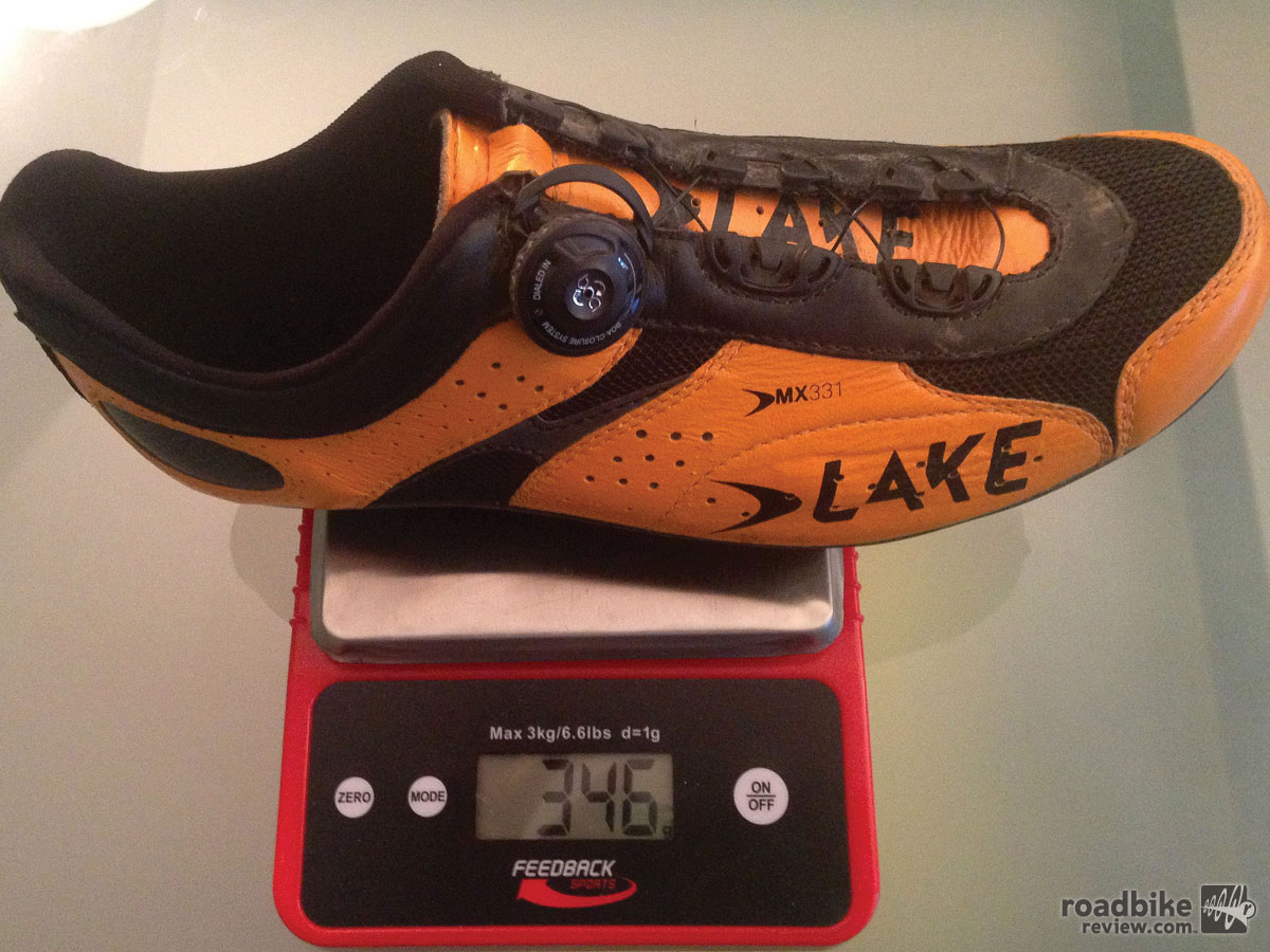 On the scale, sans cleat, our size 44s weigh 346 grams.