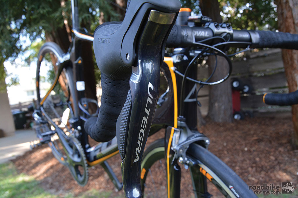 Ultegra Di2 levers have both outboard and inboard shifters, and comfy brake hoods.
