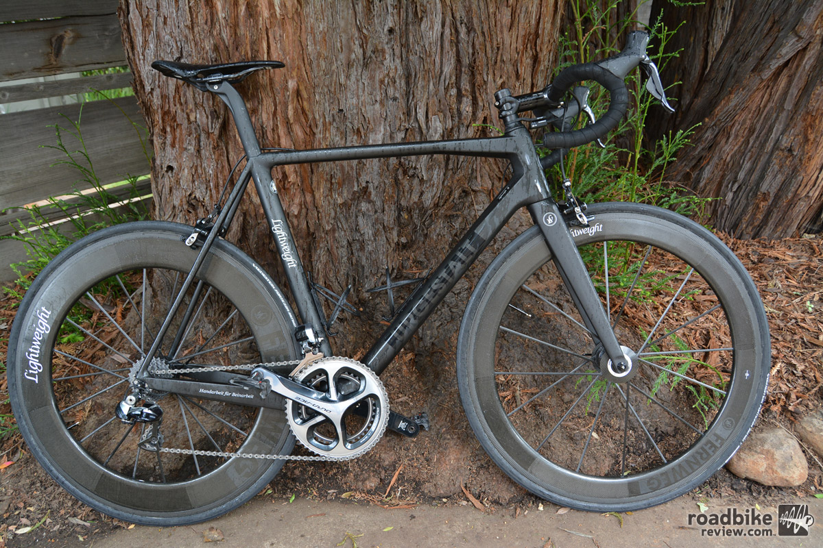 This Lightweight Urgestalt frame paired with a Fernweg Carbon wheelset and Shimano Dura-Ace Di2 retails for roughly 15k. With Look Keo Blade Ti pedals, the entire package weighed 14.6.