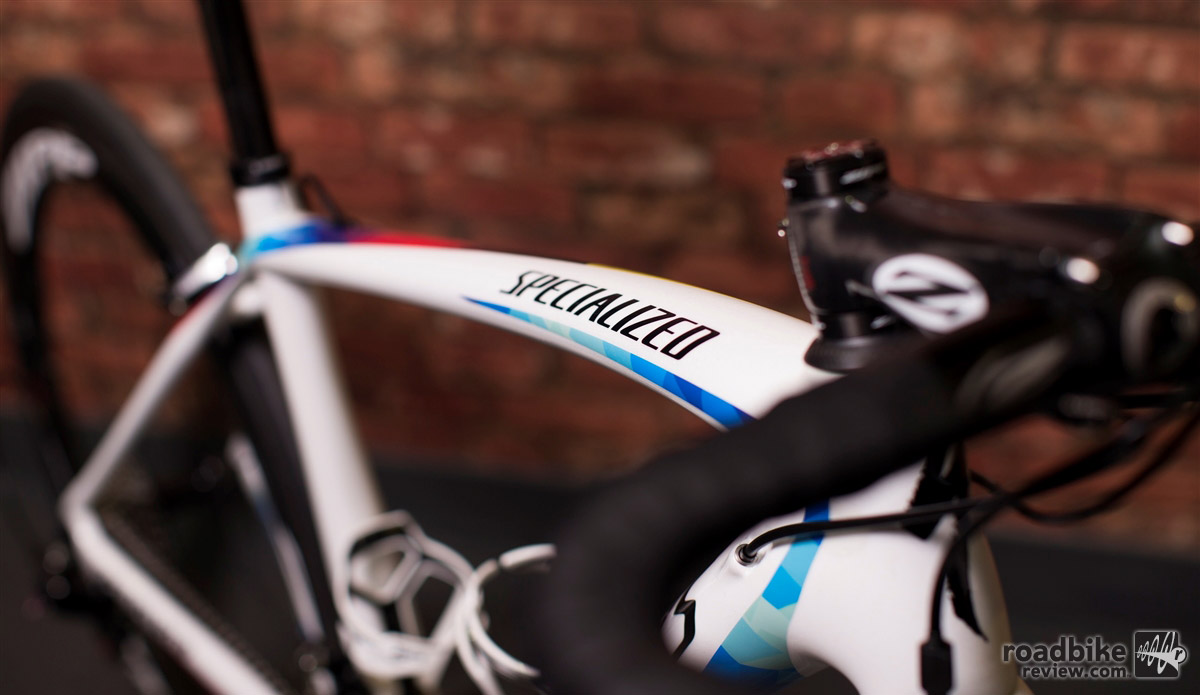 Specialized wanted Lizzie's bike to stand out and reflect her so they chose a white base as a nod to her classiness and to help her stand out among the team's dark bikes and other riders.