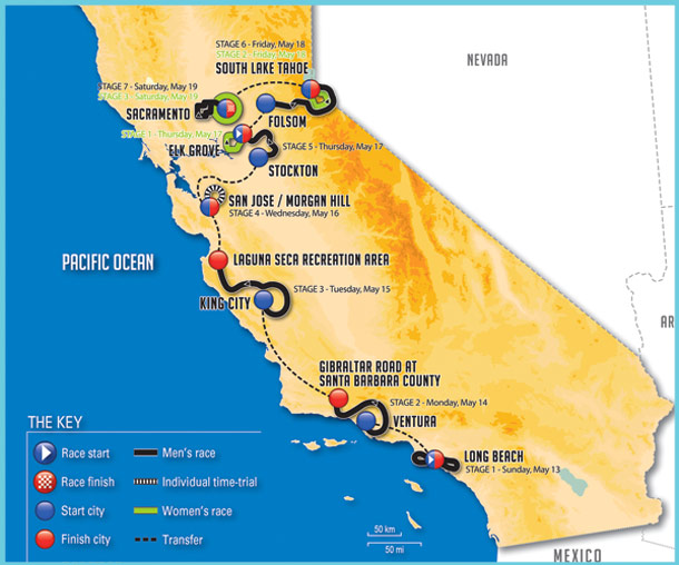 2018 Amgen Tour of California Route Map