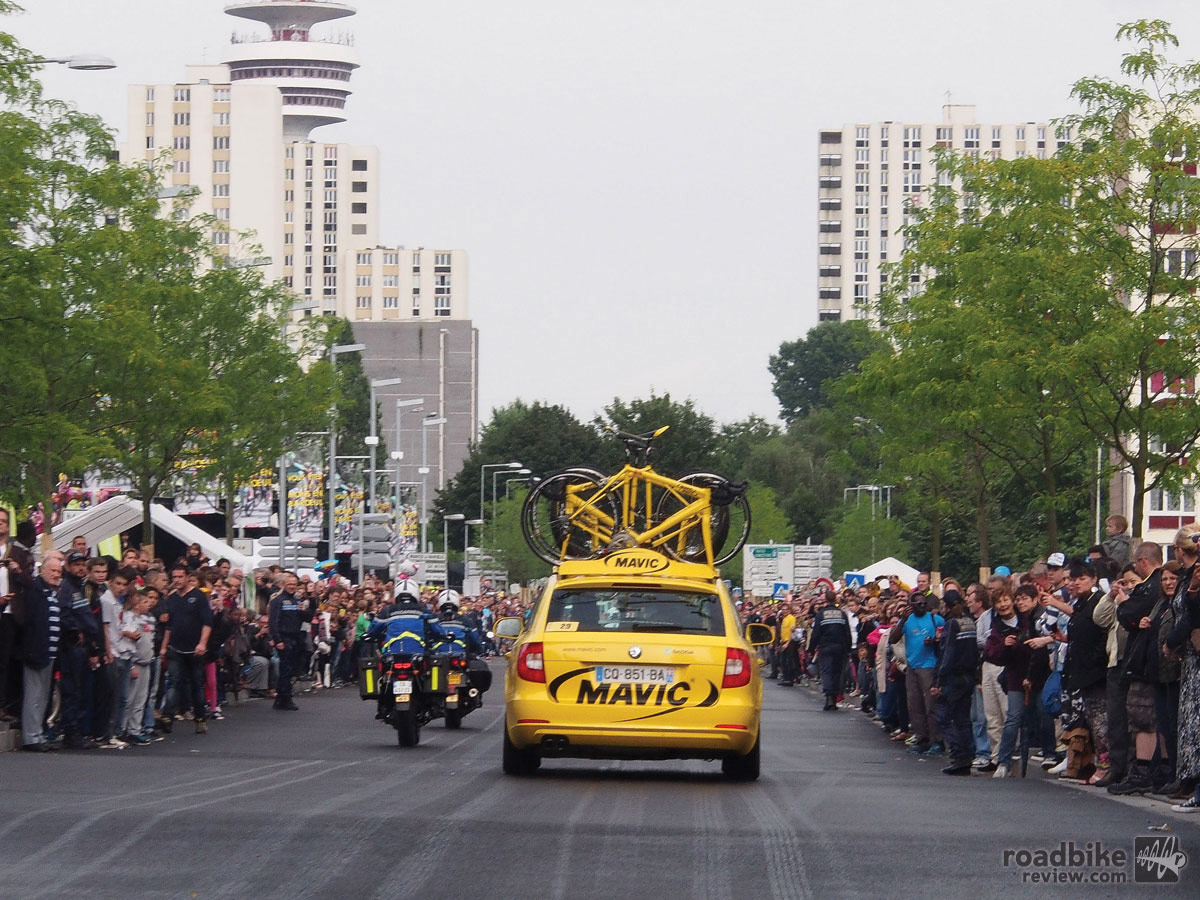 Mavic cars are a familiar sight at races around the globe, including the Tour de France.