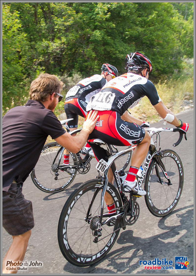 Alex Vanias getting a little help - 2012 Tour of Utah