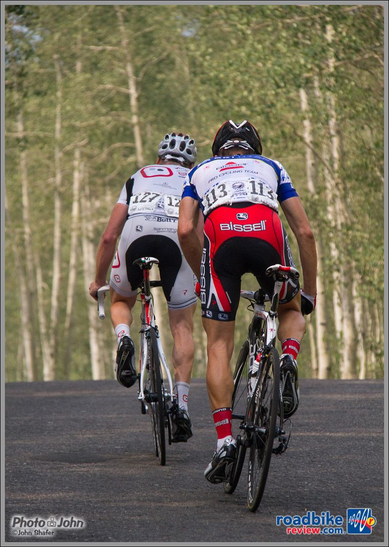 Ben Jacques-Maynes and Mike Olheiser Out Of The Saddle On Empire Pass - 2012 Tour of Utah - Stage 6