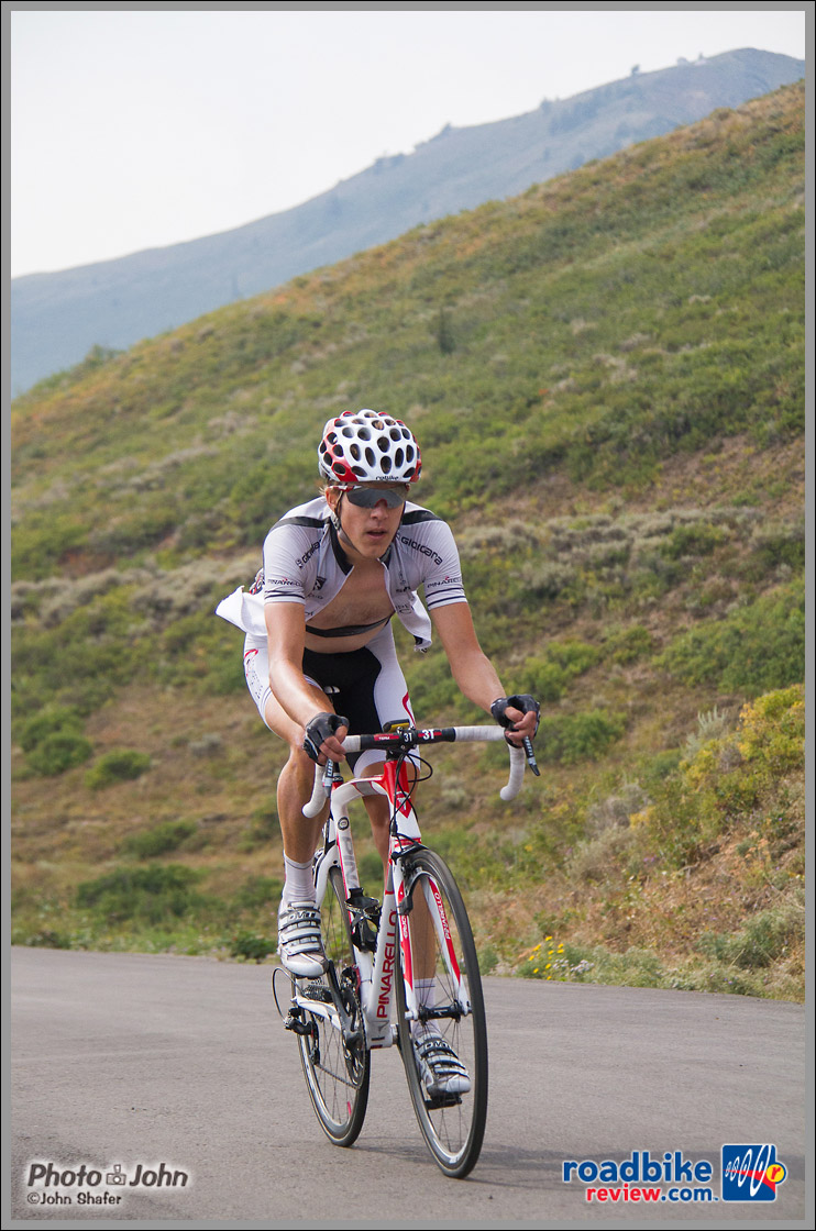 Competitive Cyclist Rider Nearing Top of Empire Pass - Tour of Utah