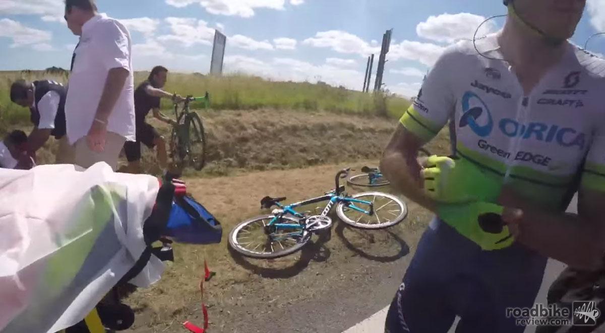 Team mechanics did their best to first find their rider's bikes...
