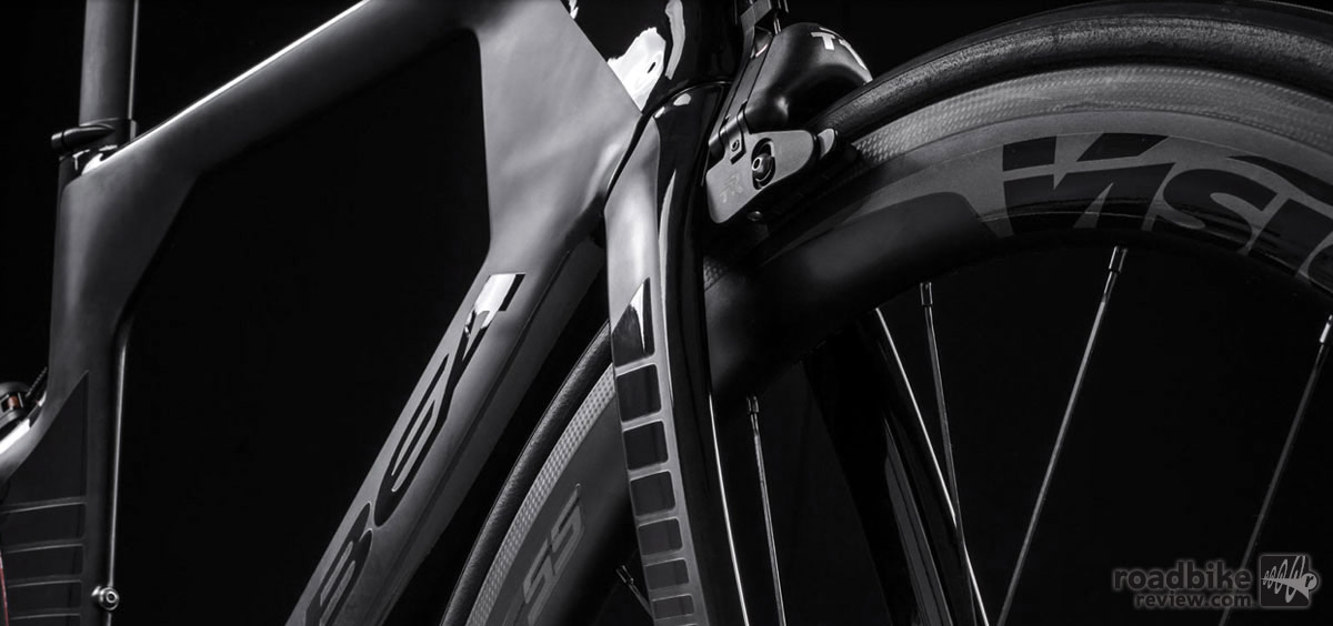 The new bike is compatible with any standard center-bolt road brake caliper.