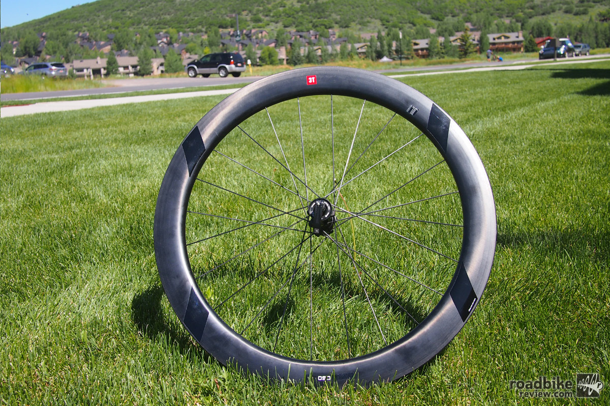 3T Discus C60 LTD clincher, hi-modulus full carbon wheels with offset double angle drilling.