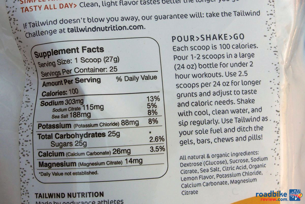 Tailwind Nutrition Nutrition Label