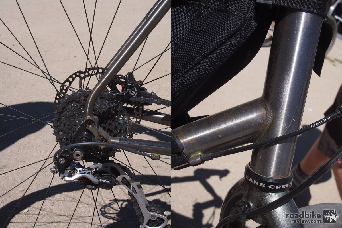 A close-up of the Penhale Gypsy's rear end and head tube junction.