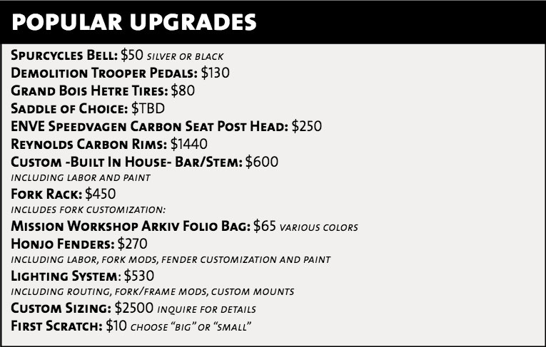 Potential upgrades. Parts pricing is subject to change.