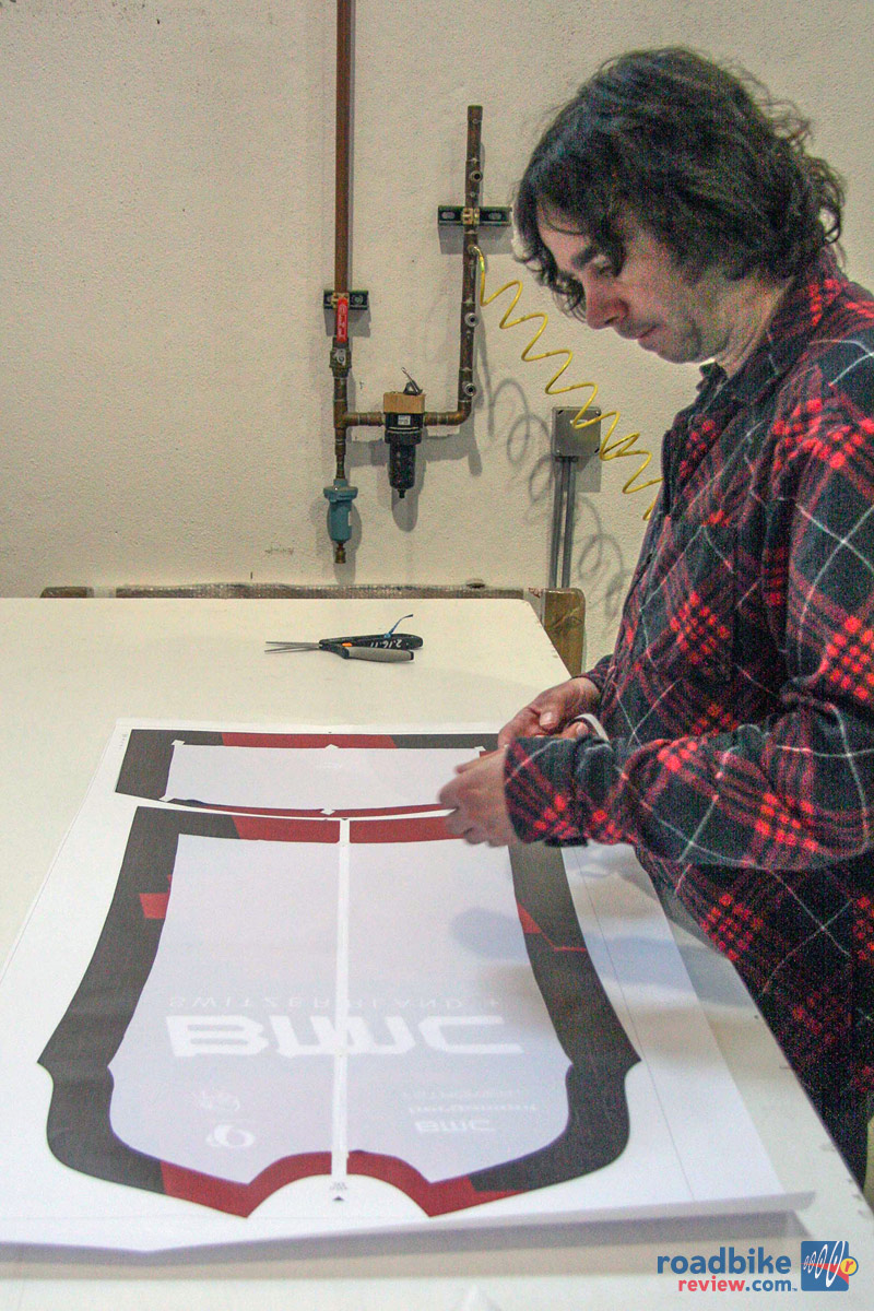 Prepping BMC jersey for sublimation