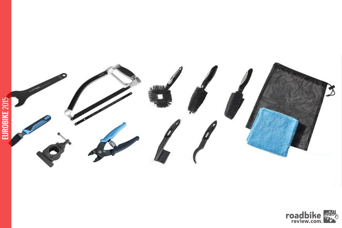 New tools include pumps, pressure checkers, CO2 cartridges, floor and mini pumps, saddle and wheel bags, bike bags, brushes, stands and specialist tools.