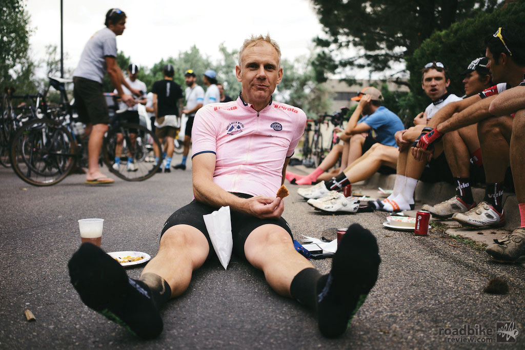 After nearly nine hours in the saddle it was time to rest. Photo courtesy Rapha