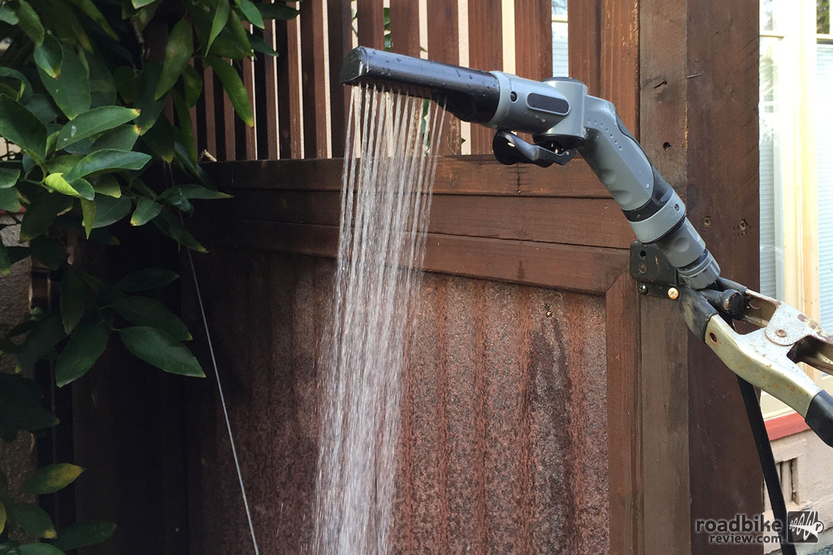 The Mountainwasher's shower attachment delivers a good spray and one tank of water will give you about a five-minute shower. Just be sure to let the water heat up in the sun.