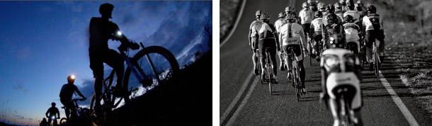 Get the miles in when you can! (left) Pedal hard and don't give up! (right) Photos courtesy of Art's Cyclery