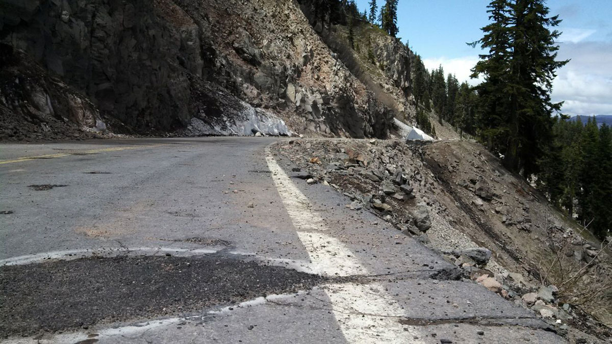 Springtime snow and ice melt occasionally unleashes falling rock, which pocks the East Rim Loop road.