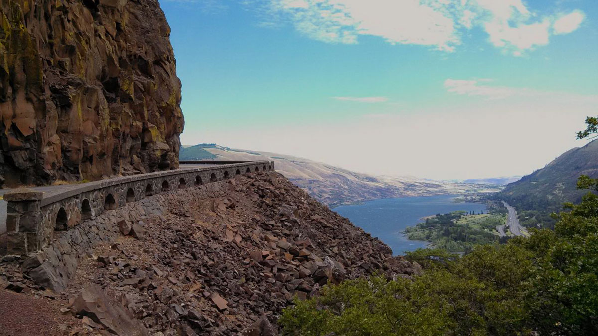 Rowena Grade is built into a mountain of volcanic rock.