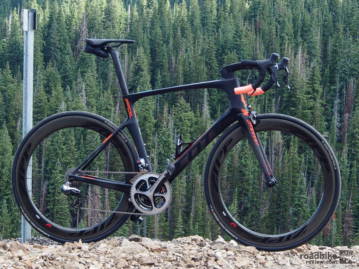 Shimano's Dura-Ace Di2 drivetrain is bar none best in class, and the Zipp 404 carbon clinchers hit the sweet spot between weight, aero efficiency and stiffness.