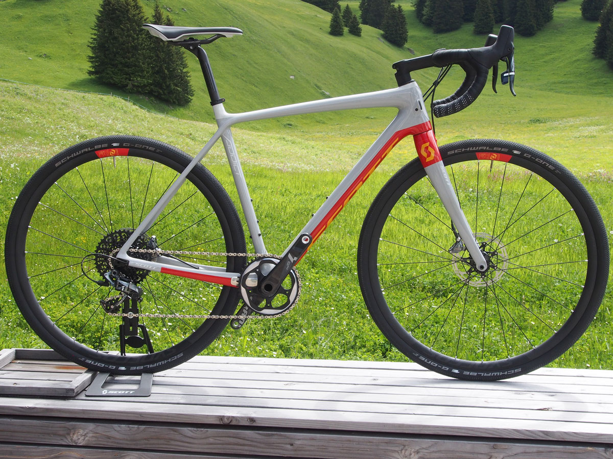 Scott's gravel bike line-up expanded from one to four. Pictured is the top end Addict Gravel 10 Disc with SRAM Force 1x11 drivetrain.
