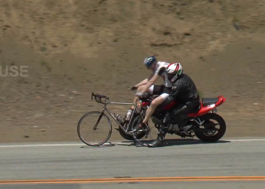 Motorcyclist hits Cyclists on Mulholland