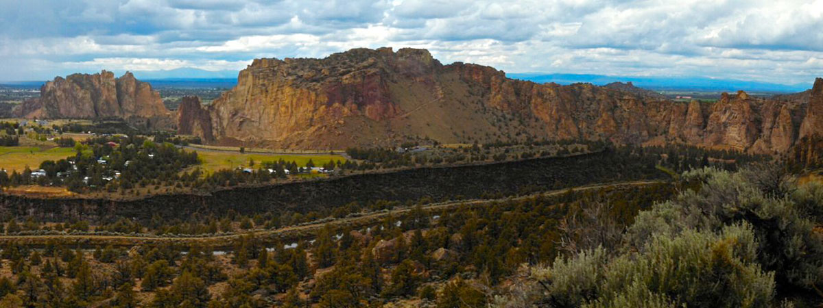 A commanding view of Smith Rock State Park from halfway up Burma Road.