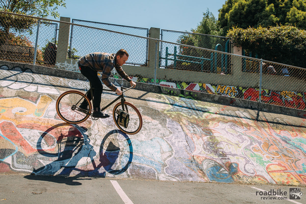With the coaster brake you can modulate braking with your hands off of the bars and with rear brake only, there's an added challenge on dirt, or if you're coming into a corner hot. There's a learning curve to this thing and with that comes the satisfaction of mastering something difficult. Photo by John Watson/The Radavist