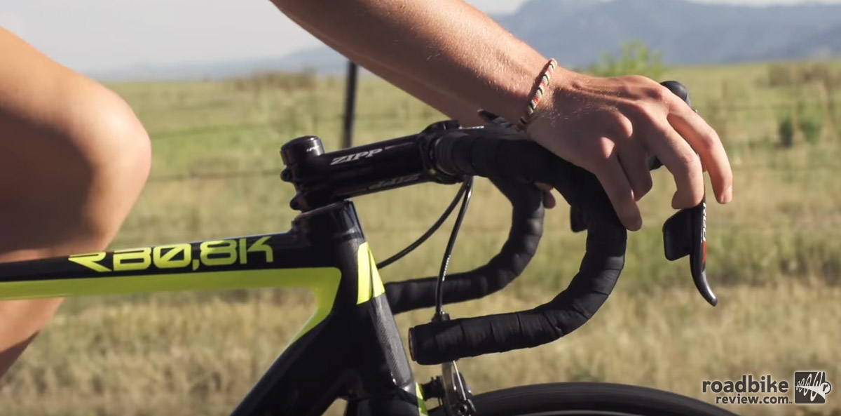 Shifting is a simple matter of one click for easier, one click for harder, and a double click to move the chain on the big chainring.