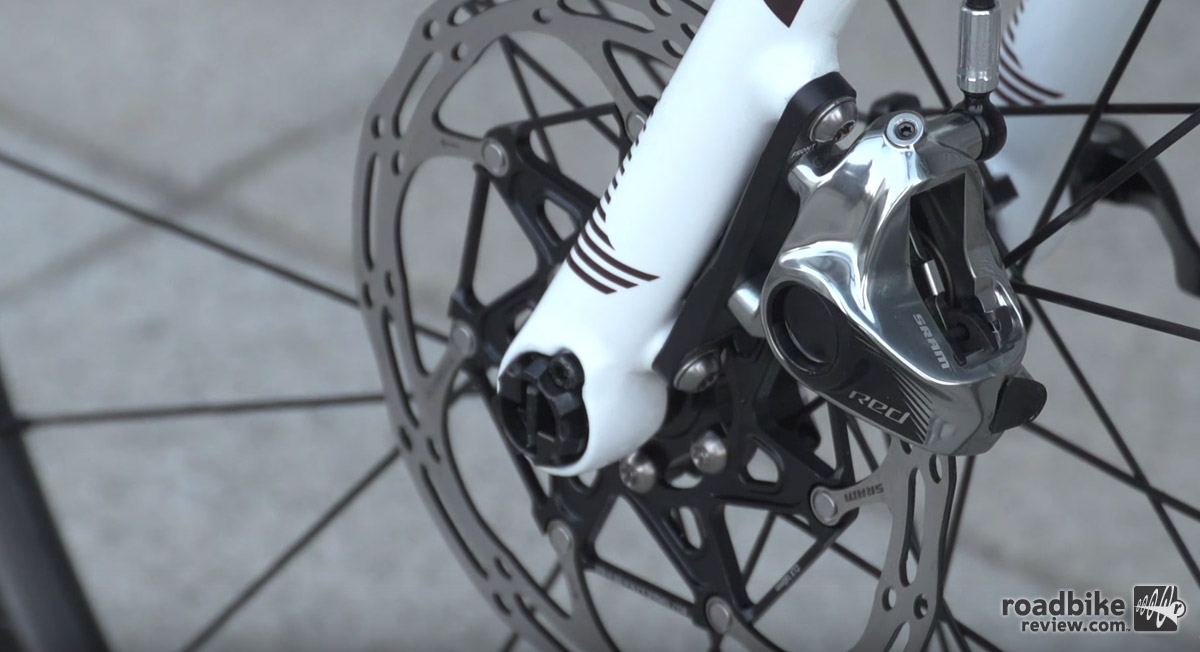 Stock rotors are 160mm, though SRAM says it's okay to 140mm for cyclocross.