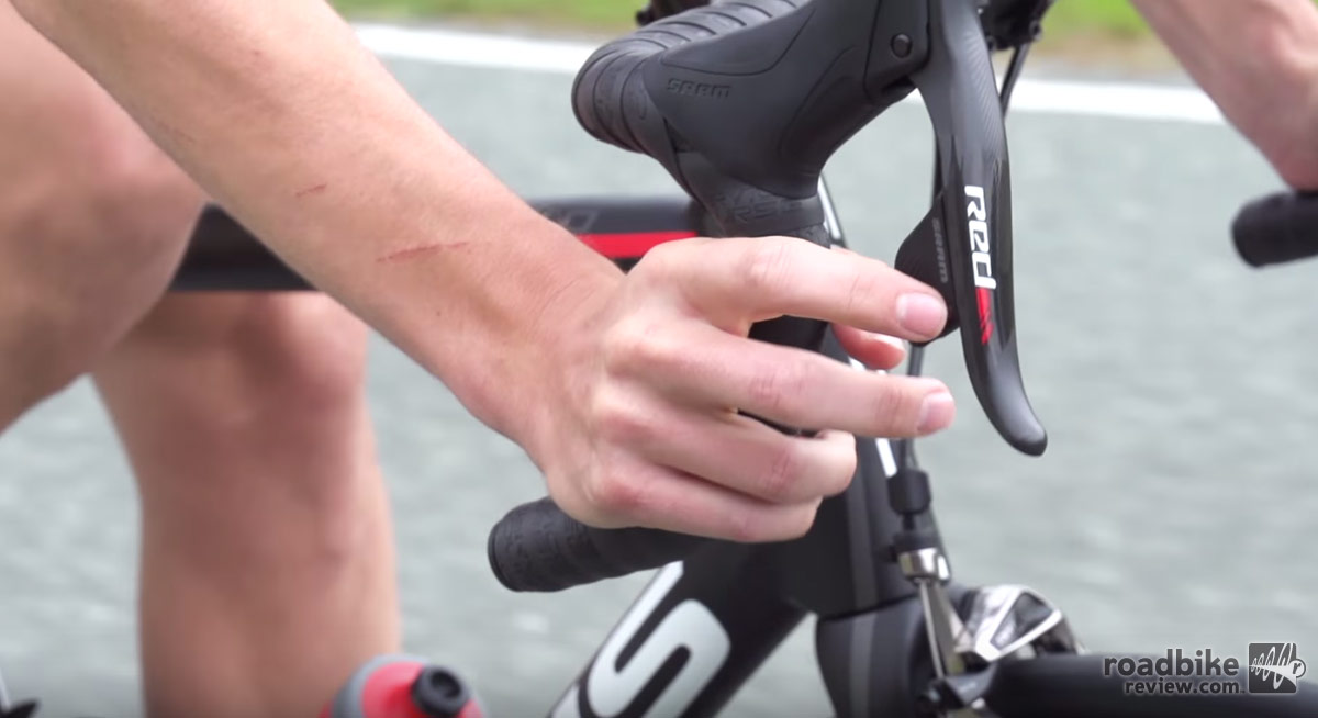 A tap on the right shifter yields a harder gear.